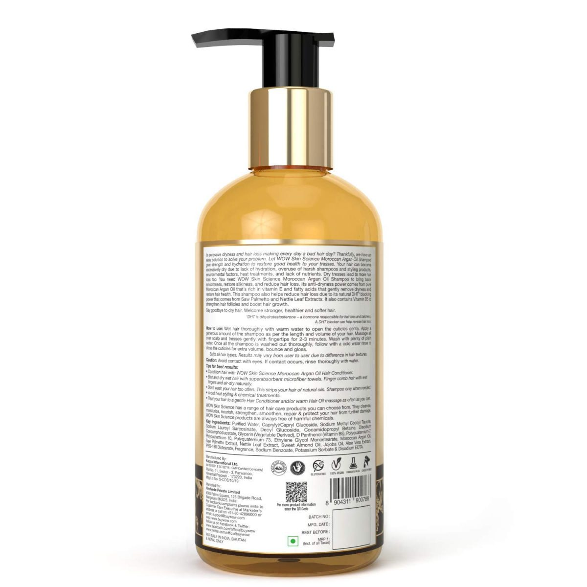 WOW Moroccan Argan Oil Shampoo With DHT Blocker - 300 mL