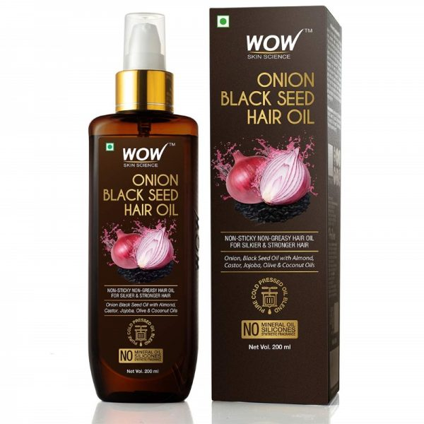 WOW Skin Science Onion Black Seed Hair Oil with Almond Castor Jojoba Olive Coconut Oils 200mL