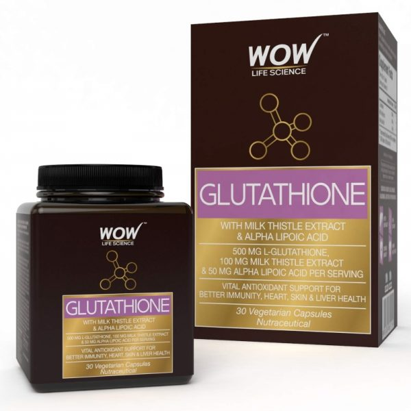 WOW Life Science Glutathione with Milk Thistle Extract 500mg 30 Vegetarian CapsulesWOW Life Science Glutathione with Milk Thistle Extract 500mg 30 Vegetarian Capsules
